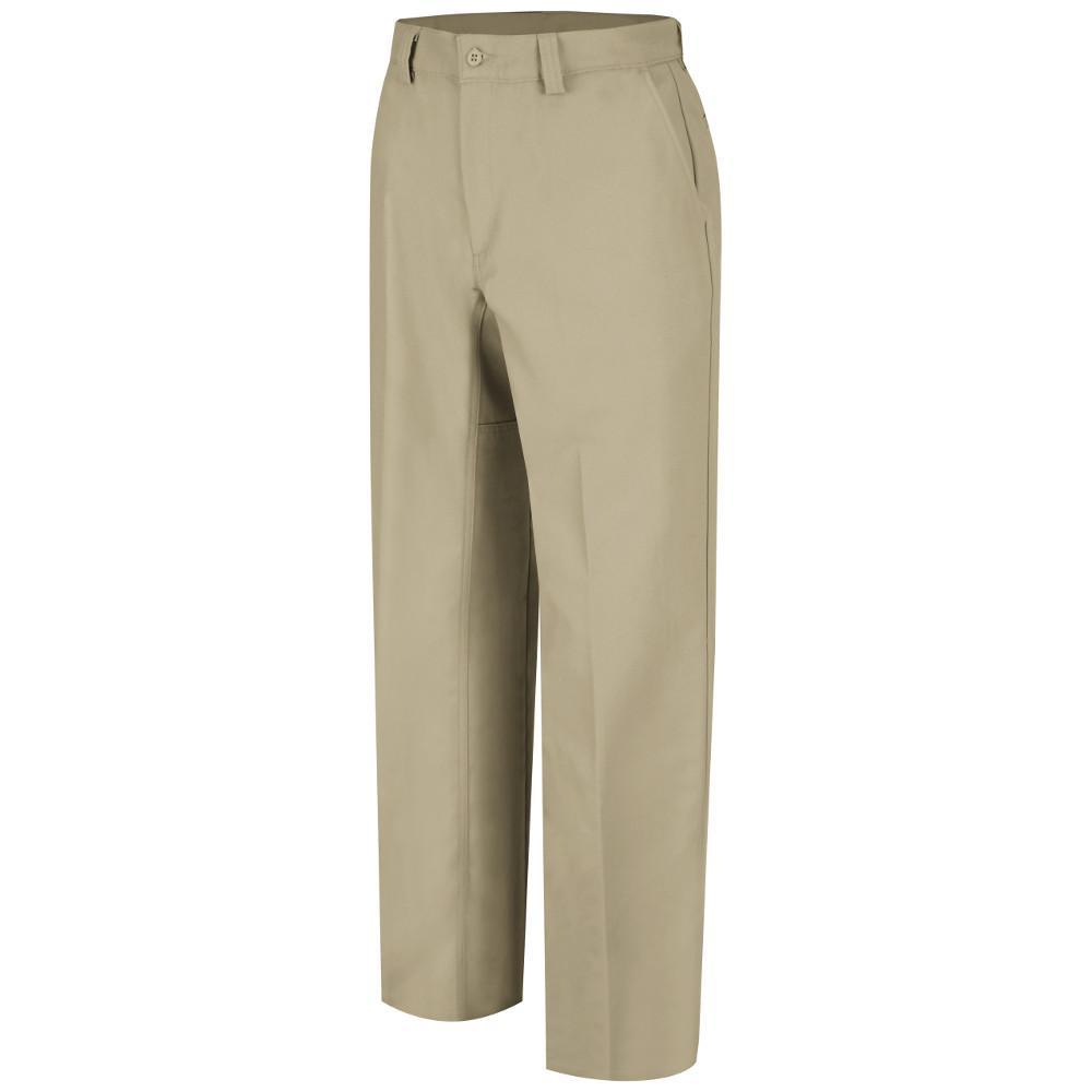 Men's 40 in. x 30 in. Khaki Plain Front Work Pant