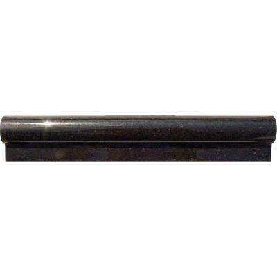 Absolute Black 2 in. x 12 in. Polished Granite Rail Molding Wall Tile (10 lin. ft. / case)