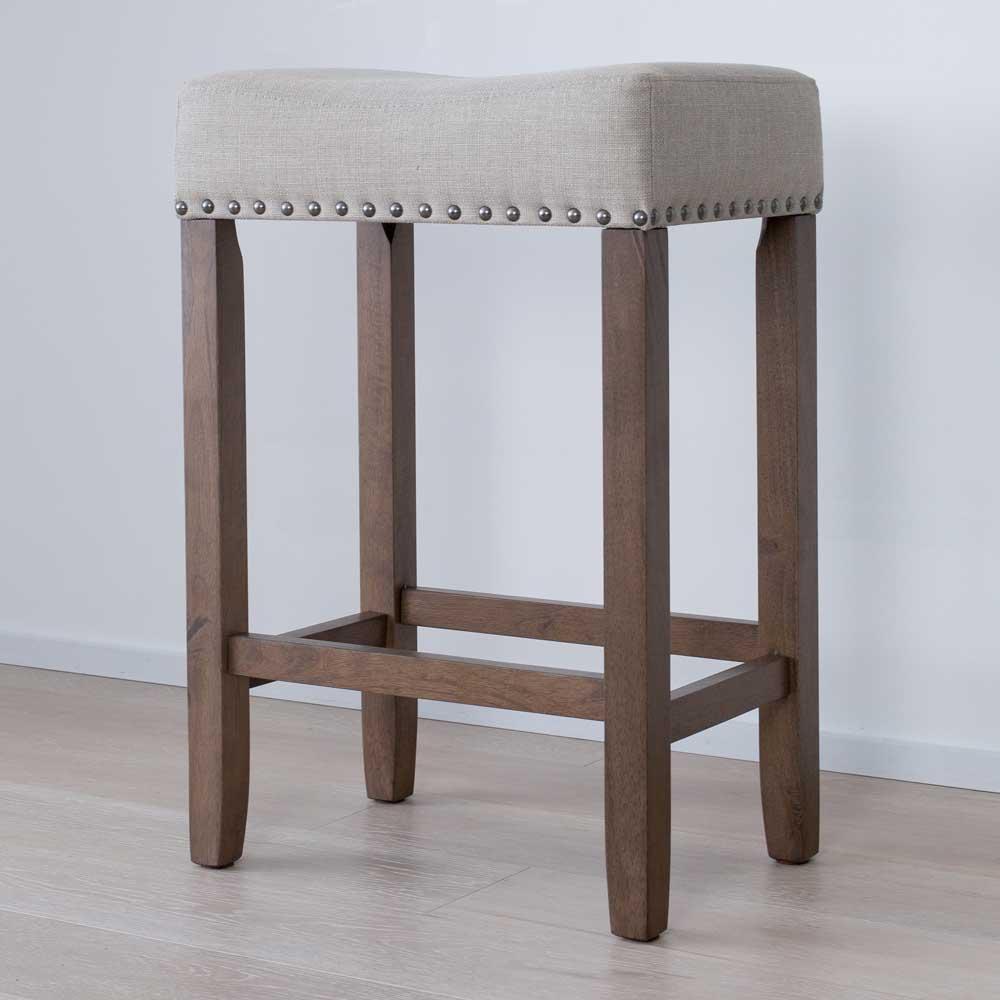 Hylie 24 in. Beige Fabric Cushion Light Brown Finish Nailhead Wood Pub-Height Counter Bar Stool