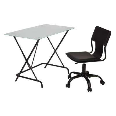 2 piece black desk and chair set