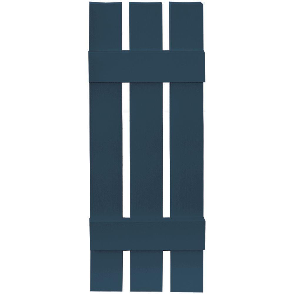 12 in. x 35 in. Board-N-Batten Shutters Pair, 3 Boards Spaced #036 Classic Blue