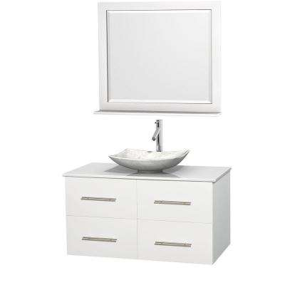 Centra 42 in. Vanity in White with Solid-Surface Vanity Top in White, Carrara Marble Sink and 36 in. Mirror