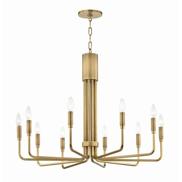 Brigitte 10-Light 32 in. W Aged Brass Pendant