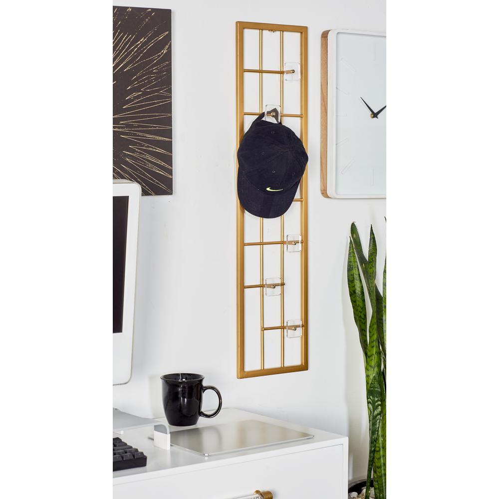 Gold Iron Rectangular Wall Hook Rack with Acrylic Hook Tips