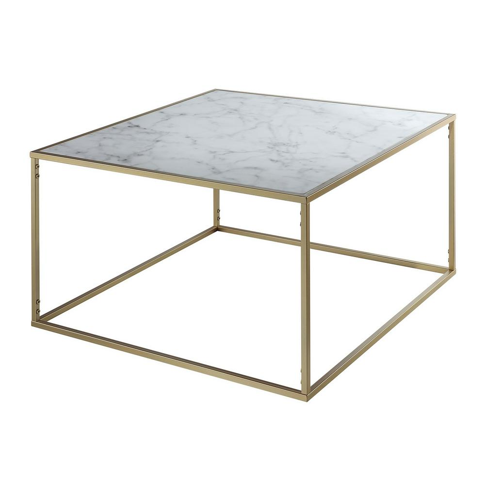 Marble Coffee Table Online: Convenience Concepts Gold Coast Faux Marble And Gold