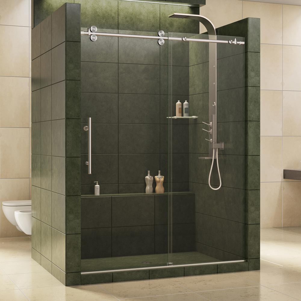DreamLine Enigma 56 in. to 60 in. x 79 in. Frameless Sliding Shower Door in Brushed Stainless Steel and 1/2 in. Exclusive Glass