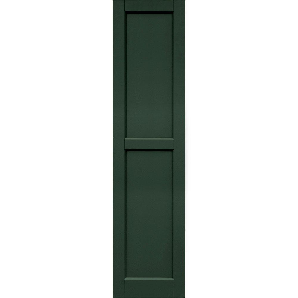 Winworks Wood Composite 15 in. x 62 in. Contemporary Flat Panel Shutters Pair #656 Rookwood Dark Green