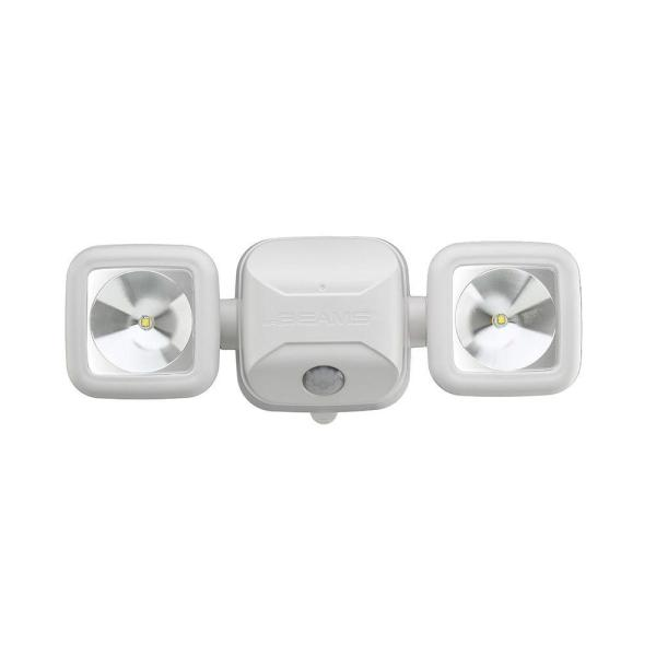 Outdoor 500 Lumen Battery Powered Motion Activated Integrated LED Twin Head Security Light, White