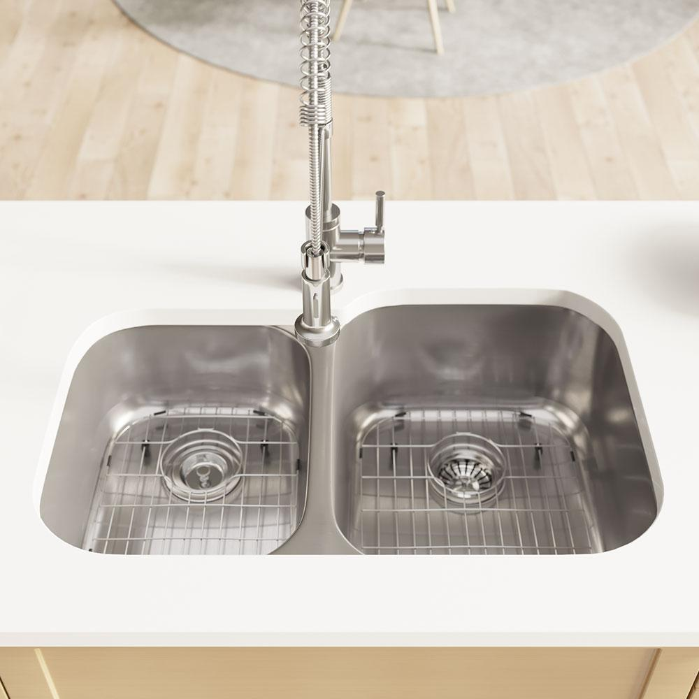 Rene Undermount Stainless Steel 32 in. Right Double Bowl Kitchen Sink