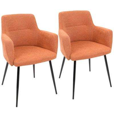 Andrew Contemporary Orange Dining Accent Chair Set Of 2
