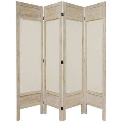 6 ft. Burnt White Solid Muslin 3-Panel Room Divider
