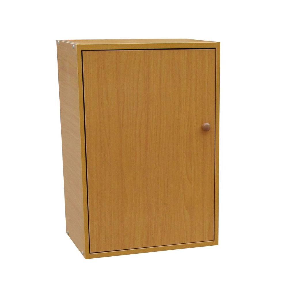 Natural Adjustable Shelf Solid Door Bookcase
