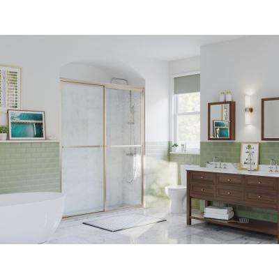Paragon 54 in. to 55.5 in. x 66 in. Framed Sliding Shower Door with Towel Bar in Brushed Nickel and Obscure Glass
