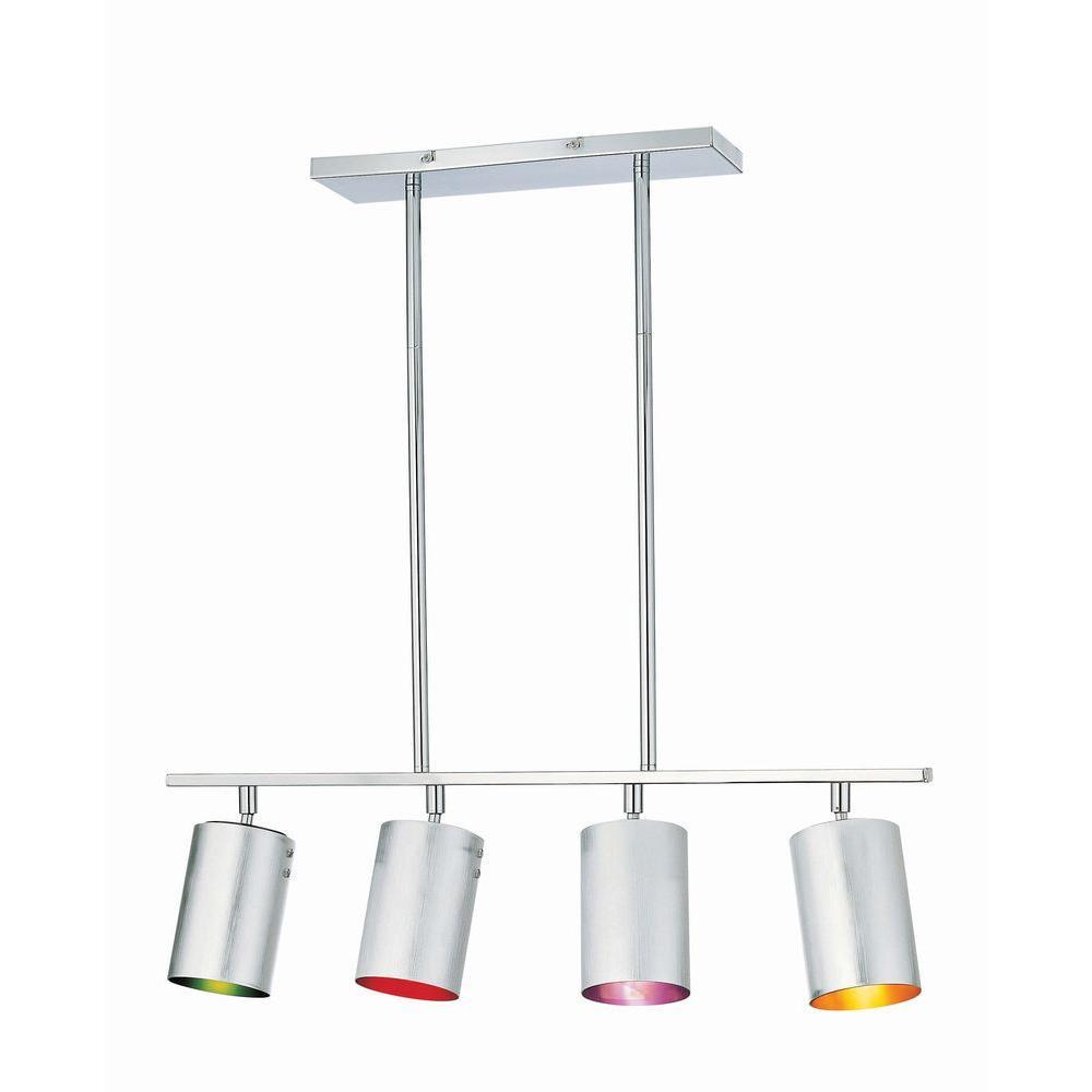 4-Light Multi Color Chrome Lamp Chandelier