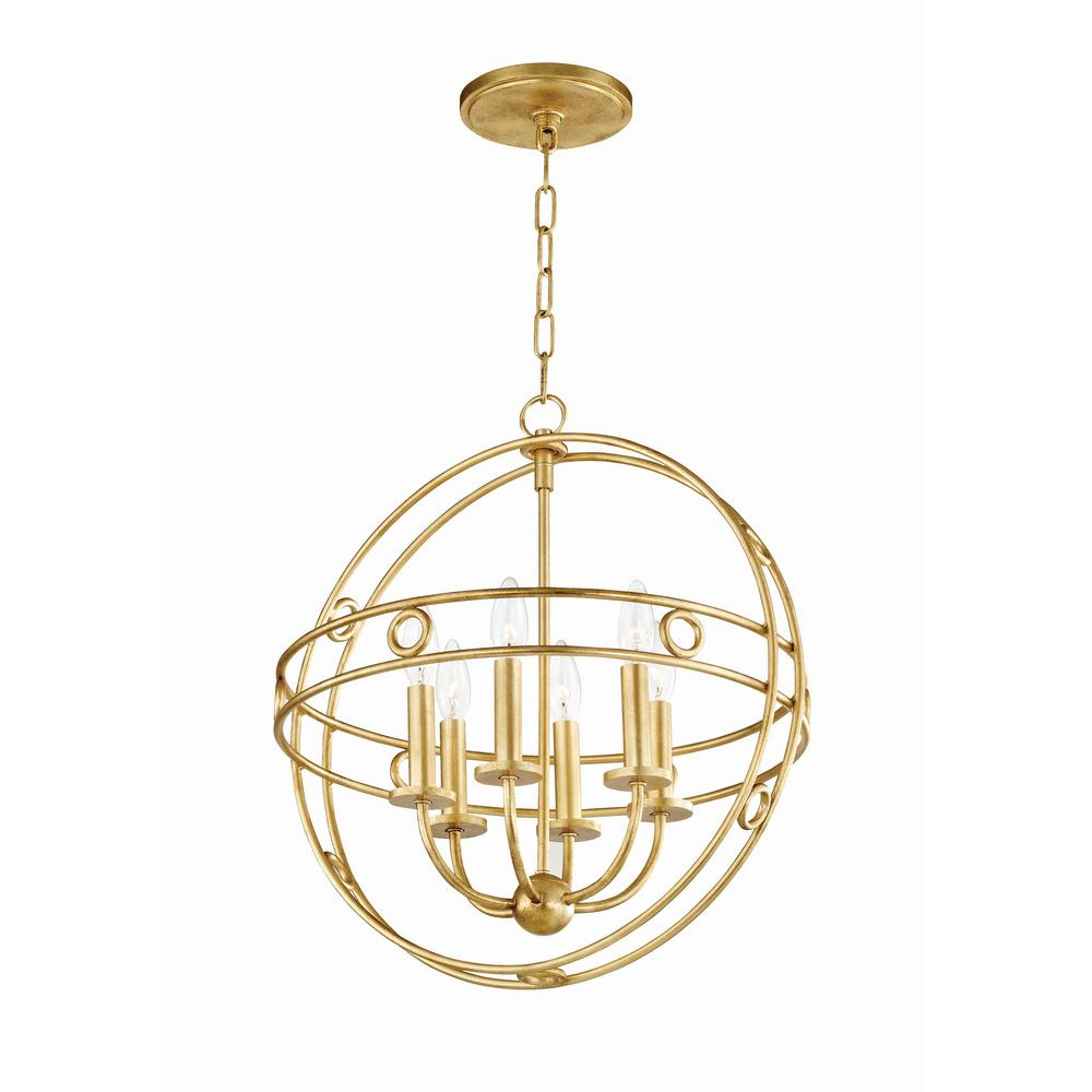 Mitzi By Hudson Valley Lighting Jade 6 Light 18 In W Gold Leaf Pendant