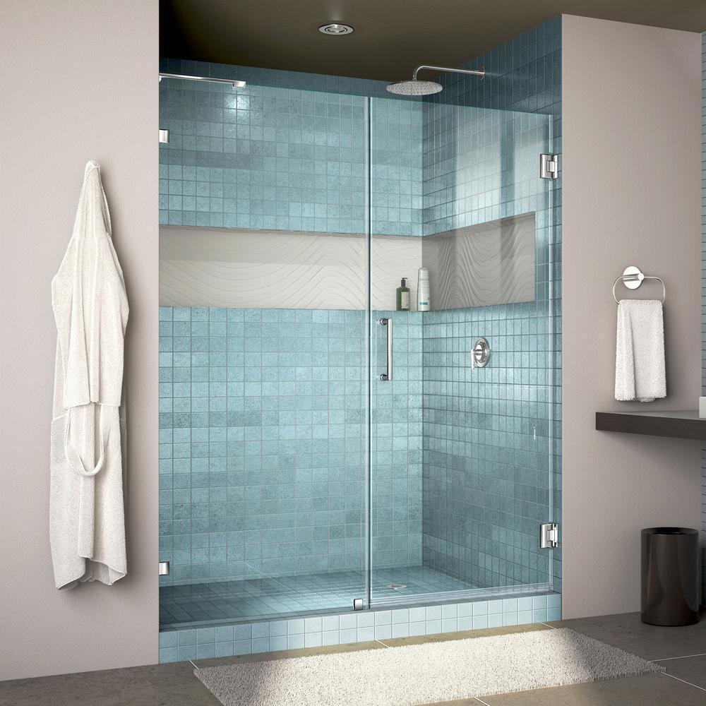 Unidoor Lux 58 in. x 72 in. Frameless Hinged Shower Door in Chrome