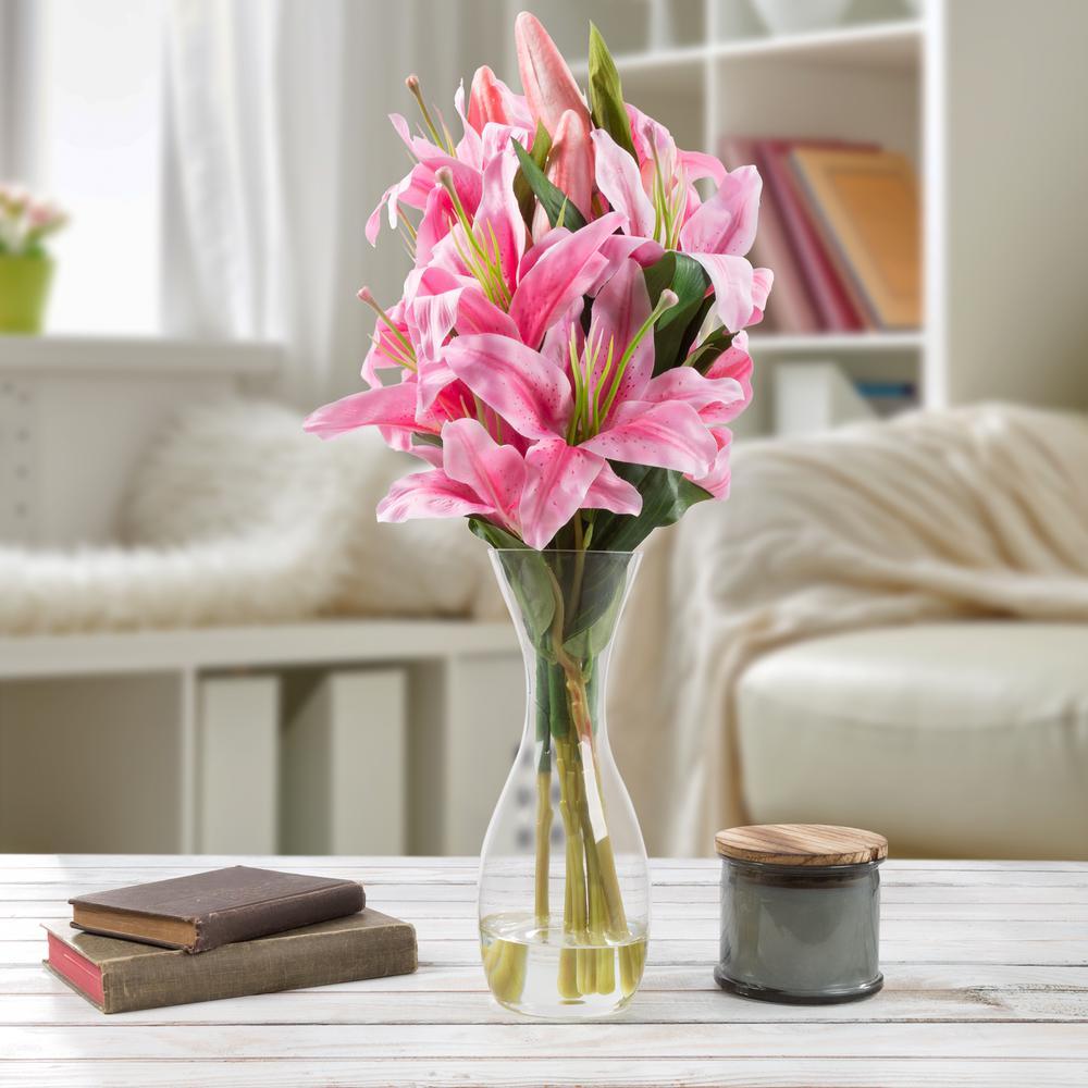 Pure Garden 215 In Lily Artificial Floral Pink Arrangement