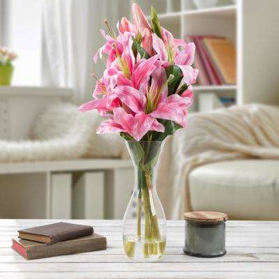 21.5 in. Lily Artificial Floral Pink Arrangement