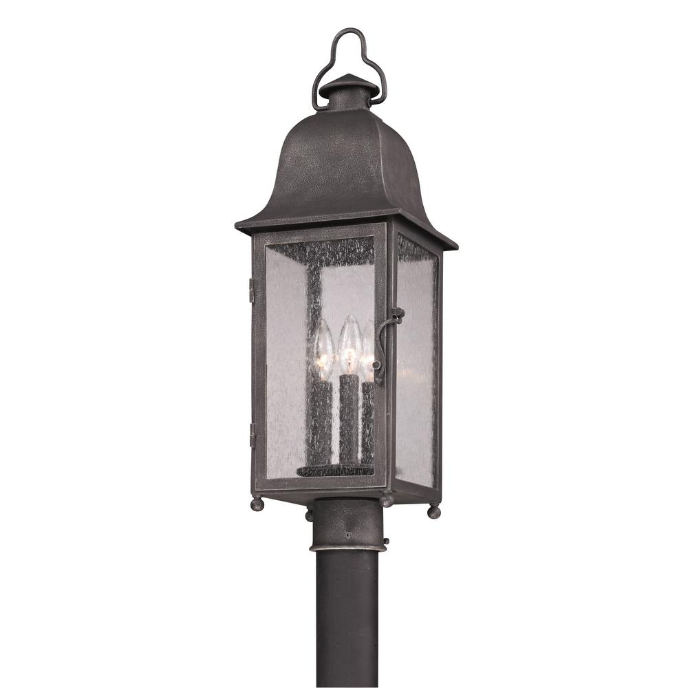 Troy Lighting Larchmont 3-Light Outdoor Aged Pewter Post Light ...