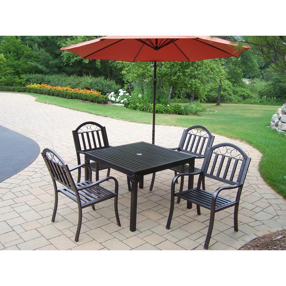 Rochester Hammertone Brown 6-Piece Metal Outdoor Dining Set and Burnt Orange Umbrella