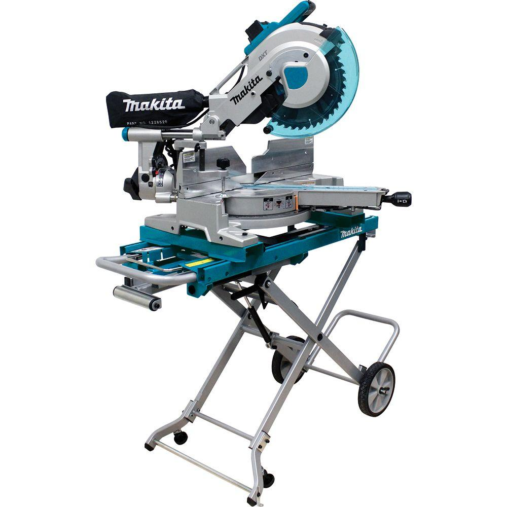 Makita 15 Amp 10 in. Dual Slide Compound Miter Saw with Laser and Stand