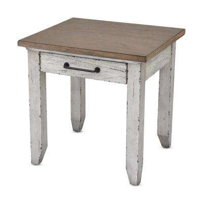 Bear Creek Rustic Ivory and Honey End Table