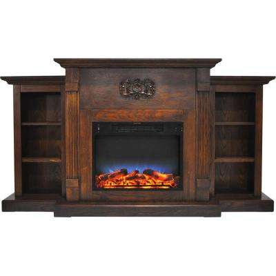 Sanoma 72 in. Electric Fireplace in Walnut with Built-in Bookshelves and a Multi-Color LED Flame Display