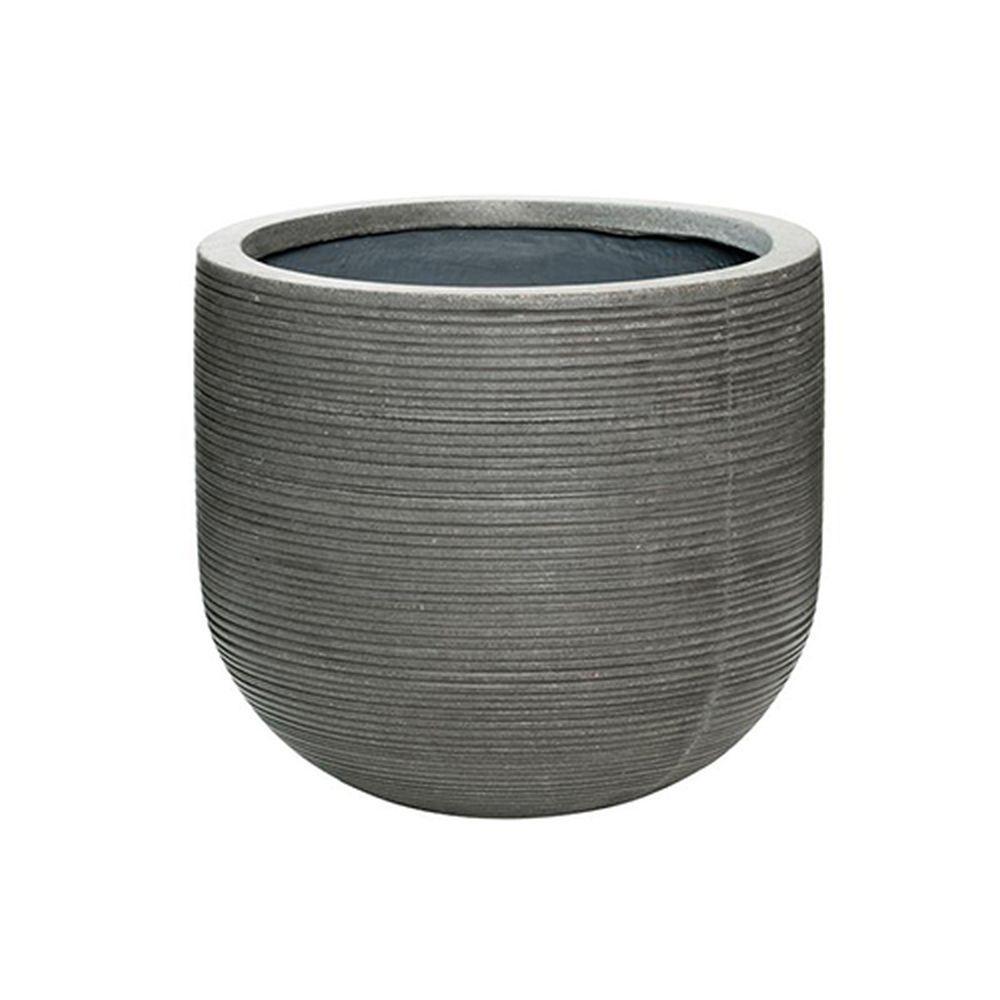 14 in. x 12 in. Rough Grey Round Fibercement Rough Pot