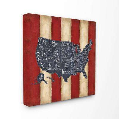 "24 in. x 24 in. ""United States Map Red White Blue"" by Jennifer Pugh Printed Canvas Wall Art"