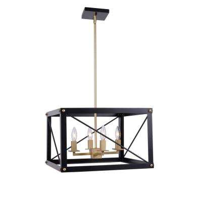 Courtney 4-Light Black and Gold Chandelier