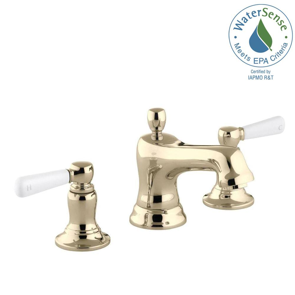 KOHLER Bancroft 8 in. Widespread 2-Handle Low-Arc Water-Saving Bathroom Faucet in Vibrant French Gold