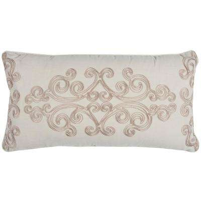 Medallion 14 in. x 26 in. Taupe Decorative Filled Pillow