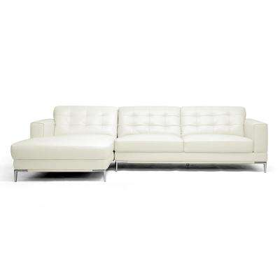 Babbitt 2-Piece Contemporary White Faux Leather Upholstered Left Facing Chase Sectional Sofa