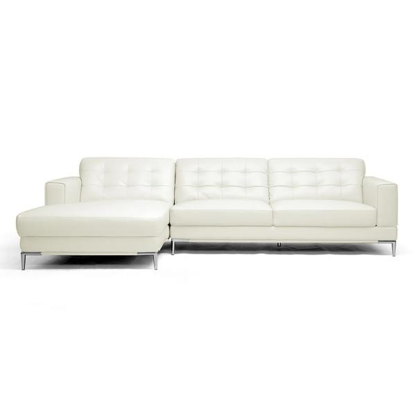 Baxton Studio Babbitt 2-Piece Contemporary White Faux Leather ...
