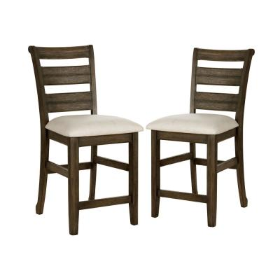 Jaxon 25.75 in. Light Walnut and Beige Counter Height Chairs (Set of 2)