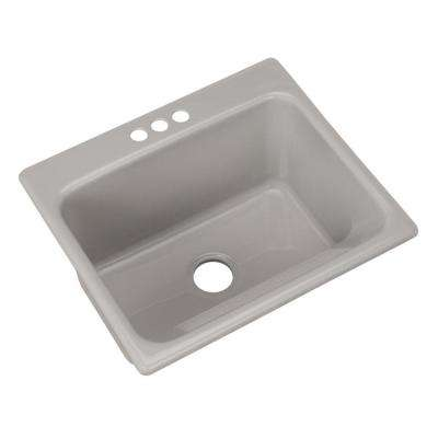 Kensington Drop-In Acrylic 25 in. 3-Hole Single Bowl Utility Sink in Sterling Silver