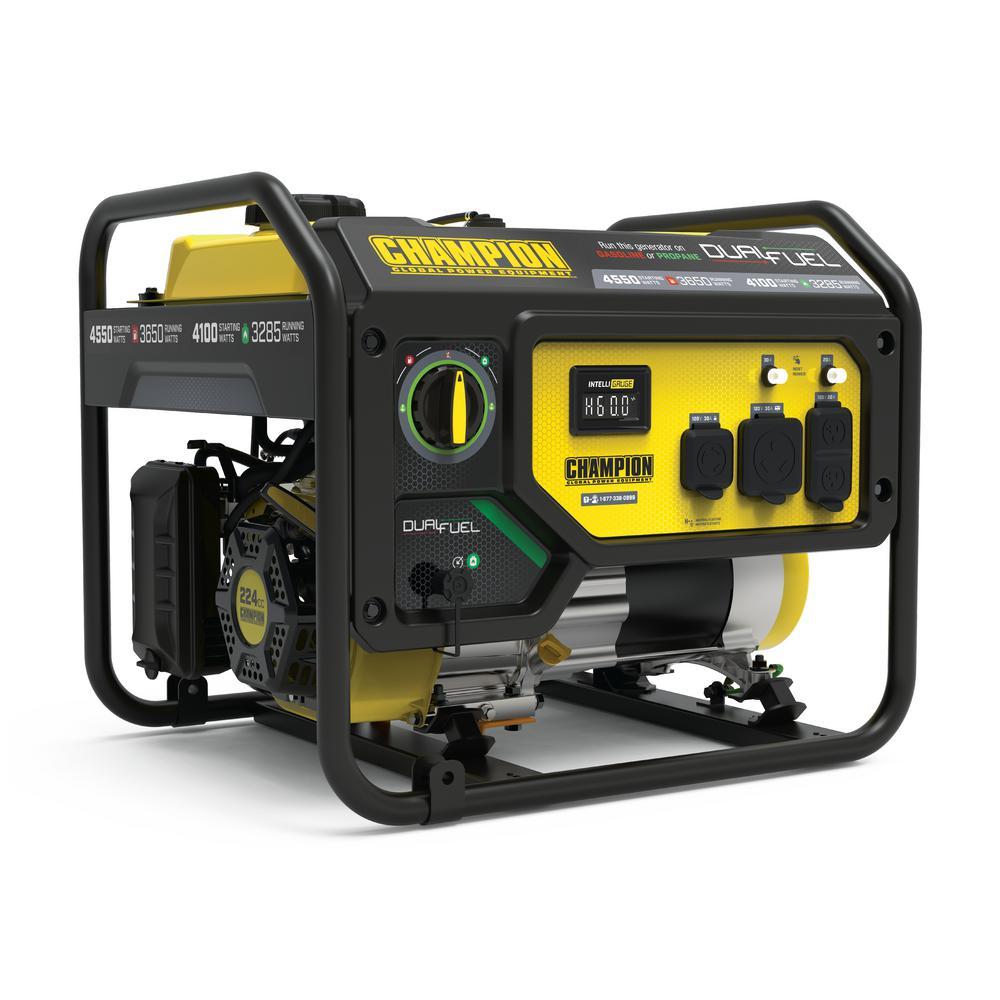 CHAMPION POWER EQUIPMENT 4550/3650-Watt Recoil Start Gas and Propane Dual Fuel Powered RV Ready Portable Generator -  200972