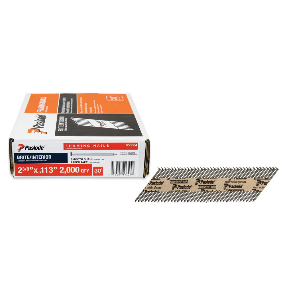 Paslode 2 38 In X 0113 Gauge 30 Degree Brite Smooth Shank Paper