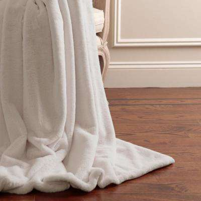 Luxe Faux Fur 84 in. L Taupe Throw