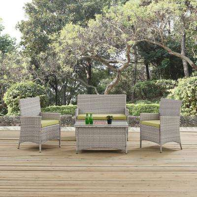 Bridge 4-Piece Wicker Outdoor Patio Conversation Set in Light Gray with Peridot Cushions