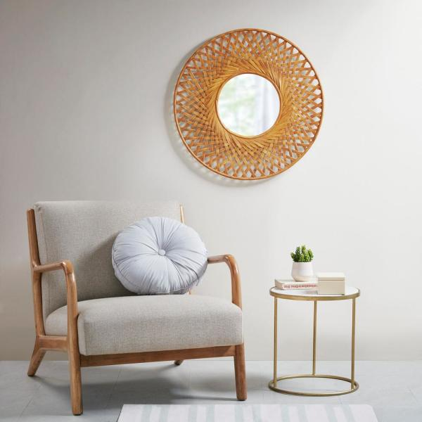 Unbranded Reed Natural Round Bamboo Wall Decor Mirror Mp95b 0258 The Home Depot