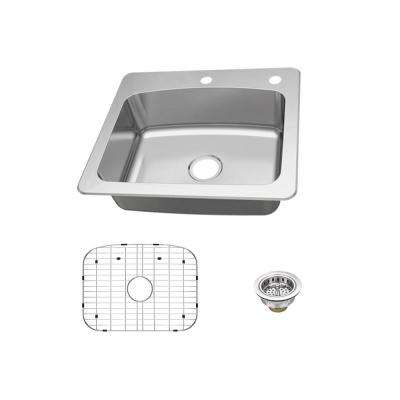 Dual Mount 18-Gauge Stainless Steel 25 in. 2-Hole Single Bowl Kitchen Sink with Grid and Drain Assembly