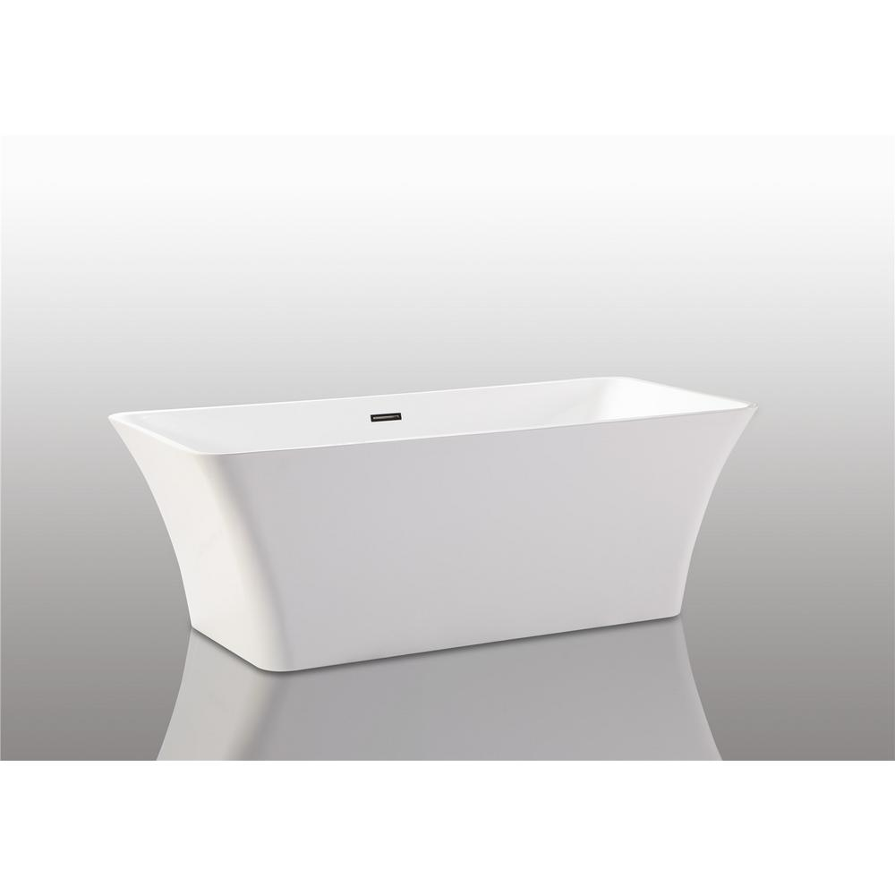 66.9 in. Acrylic Non-Whirlpool Freestanding Flatbottom Bathtub in White