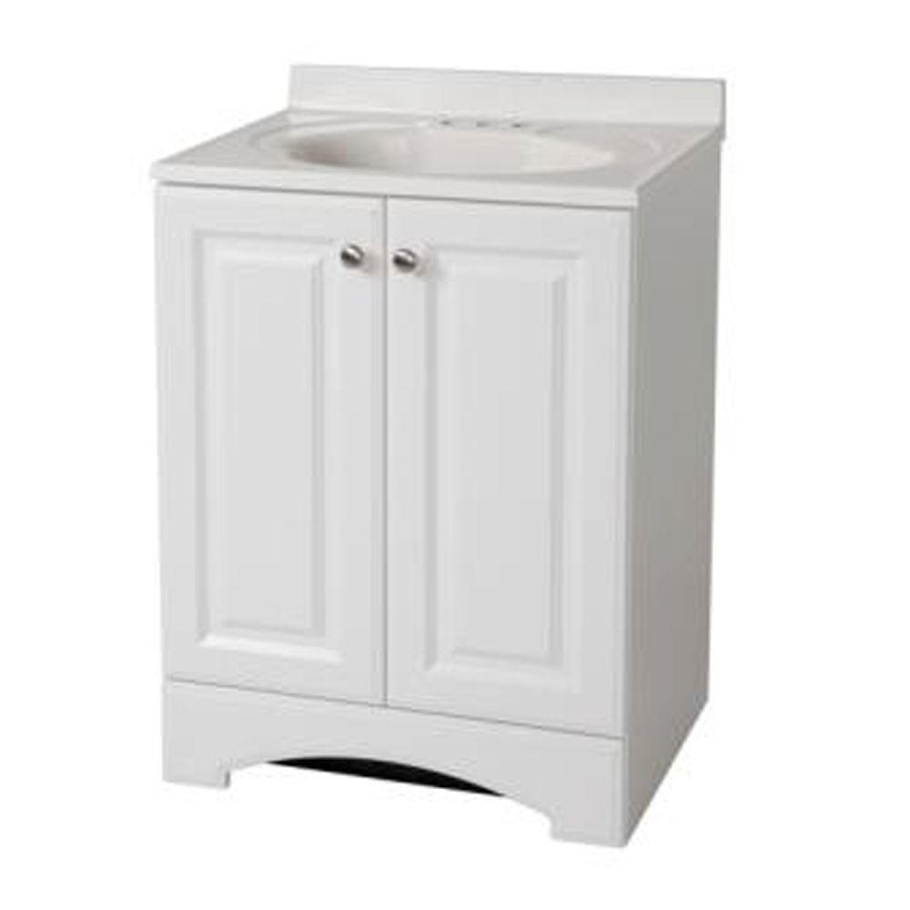 Elegant Glacier Bay 24 1/2 In. W Bath Vanity In White With Vanity Top In White And  White Basin GB24P2COM WH   The Home Depot