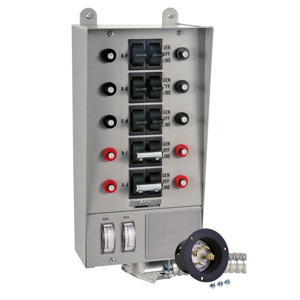 Reliance Controls 30-Amp 10-Circuit Transfer Switch