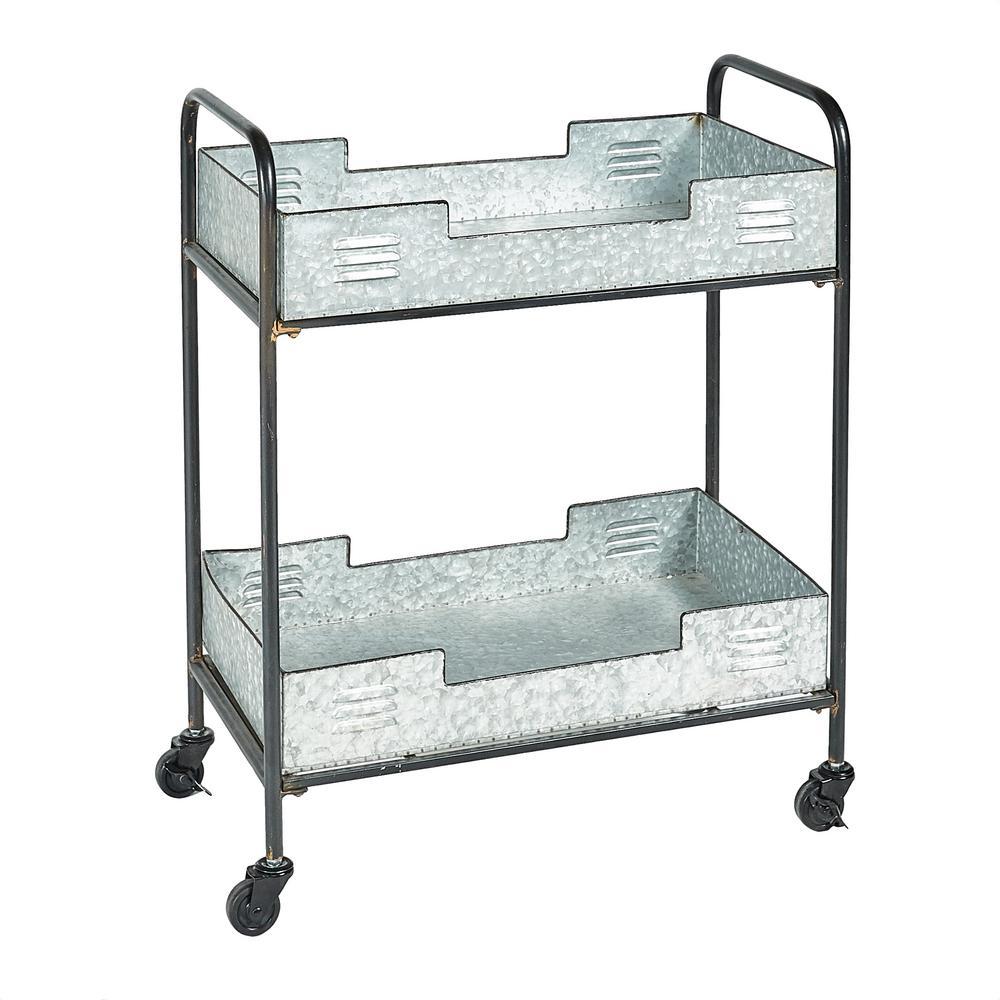 Linon Home Decor Enya Iron Indoor Outdoor Industrial Bar Cart