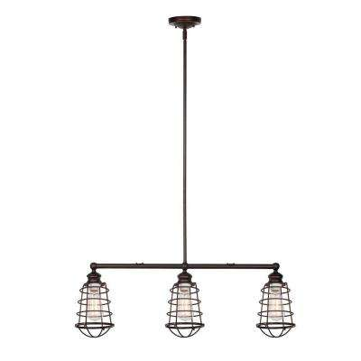 Ajax Collection 3-Light Textured Coffee Bronze Indoor Pendant