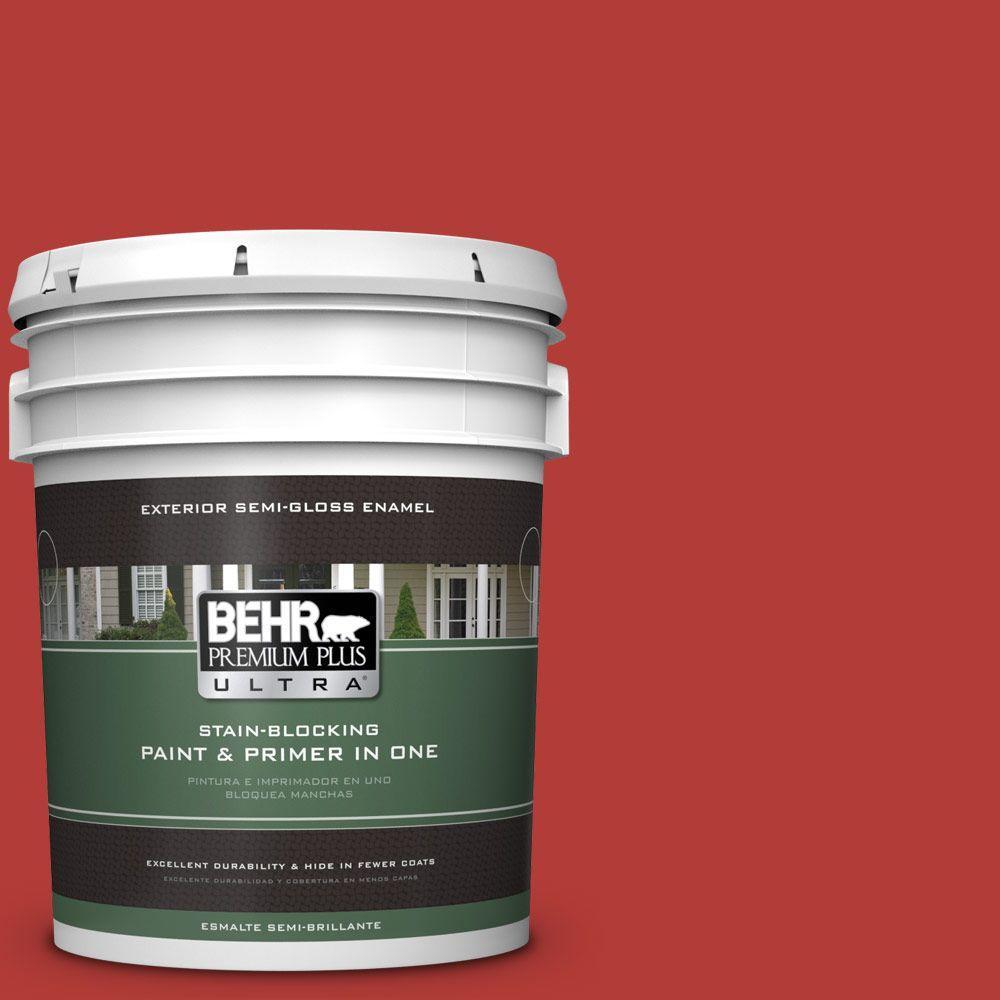 BEHR Premium Plus Ultra 5-gal. #PMD-85 Crimson Silk Semi-Gloss Enamel Exterior Paint