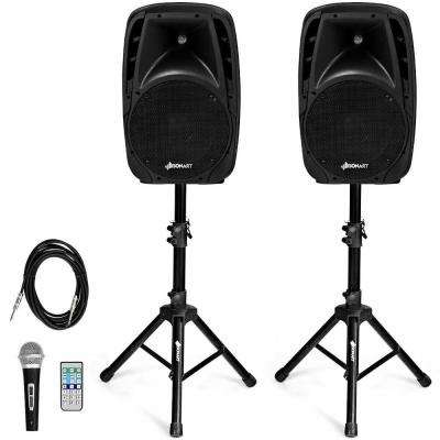 Dual 10 in. Portable 1600-Watt Powered Speakers with Bluetooth Mic Speaker Stands Control