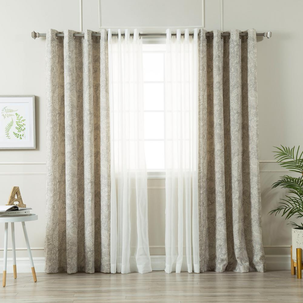 best home fashion grey 84 in l umixm sheer faux linen and. Black Bedroom Furniture Sets. Home Design Ideas